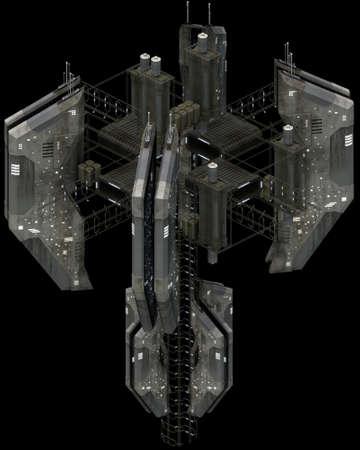 Isometric futuristic sci-fi architecture, impressive spacestation. 3D rendering Standard-Bild