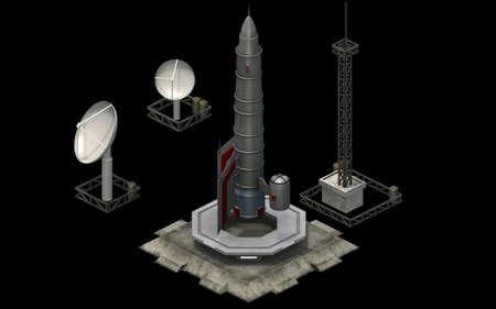 Isometric futuristic sci-fi architecture, space rocket shuttle. 3D rendering Standard-Bild