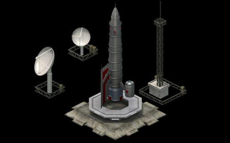 Isometric futuristic sci-fi architecture, space rocket shuttle. 3D rendering 스톡 콘텐츠