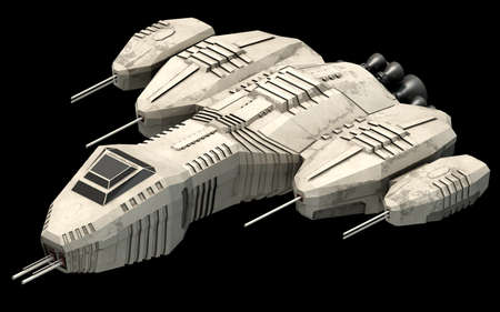 Isometric futuristic sci-fi architecture, space ship. 3D rendering
