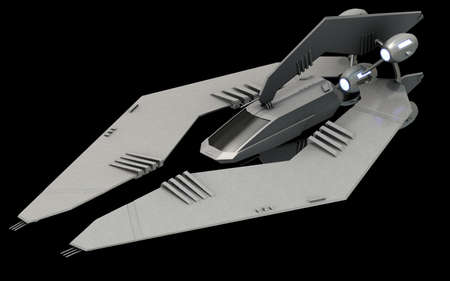 Isometric futuristic sci-fi architecture, stealth space fighter. 3D rendering Banco de Imagens