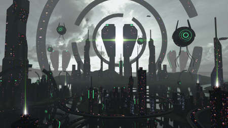 Alien scifi city in futuristic black and neon effects. 3D rendering