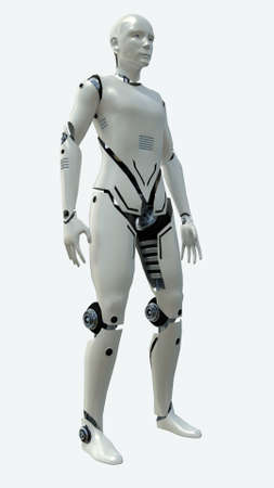 Artificial robot man model. 3d rendering