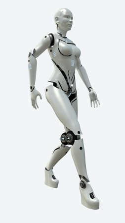 Artificial robot woman model. 3d rendering