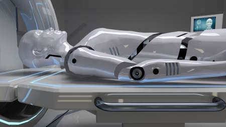 Robot in a medical facility with futuristic body scan. 3d rendering
