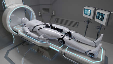 Robot in a futuristic medical facility. 3d rendering