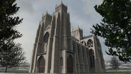 Detailed 3D rendering of an ancient cathedral in European style. Extensive modeling work based on various christian churches.