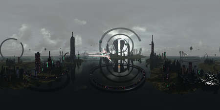 3D rendering equirectangula of a futuristic city. The fiction image has modern architecture in the galaxy