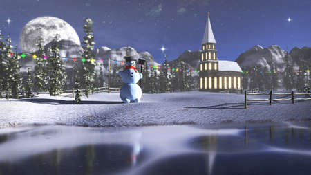 3D rendering of a winter landscape with a snowman. A frozen lake, snow and a little church in the background.