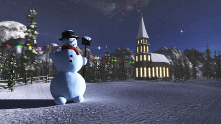 3D rendering of a winter landscape with a snowman and a little church in the background.