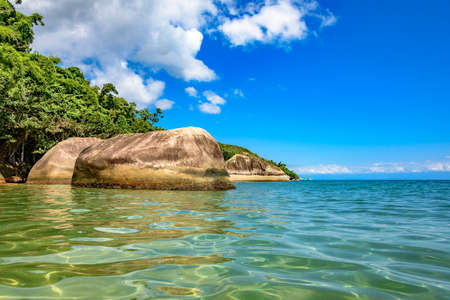 tropical island: Meeting between vegetation and the sea with its warm clear waters of the beach Itaguau, Ilha Grande, Angra dos Reis region known to the Green Coast in Rio de Janeiro Stock Photo