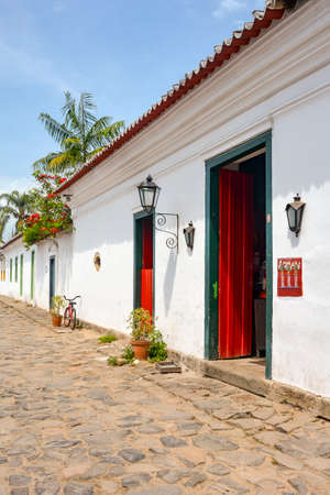 the humanities landscape: Paraty street with its old colonial-style houses and streets with paving stones of the Empire era