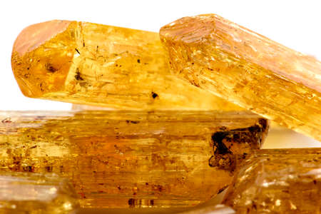 characteristics: Imperial topaz crystals with their color, texture and formation characteristics Stock Photo