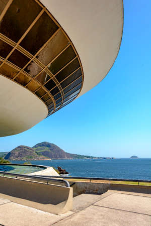 oscar niemeyer: Modern Art Museum of Niteroi designed by architect Oscar Niemeyer on the Guanabara Bay waters