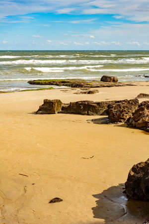 cal: View of the beach of Cal in the city of Torres, Rio Grande do Sul, with their characteristic landscape and stones