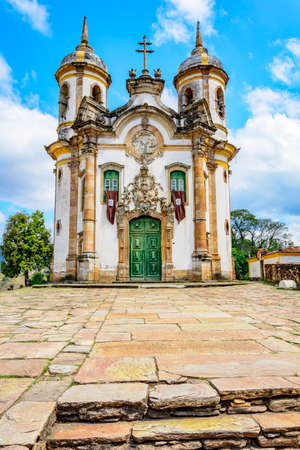 seniority: Front view of the ancient church of St. Francis of Assisi built in the year 1771 in Baroque style in the city of Ouro Preto in Minas Gerais Stock Photo