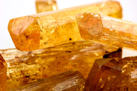 crystal: Imperial topaz crystals with their color, texture and formation characteristics Stock Photo