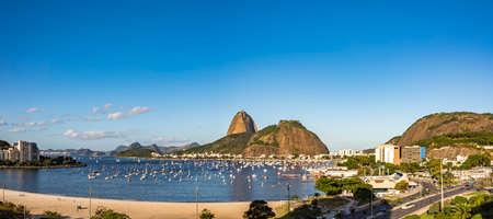 Panoramic image of Sugar Loaf, bay and beach of Botafogo and Urca