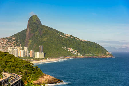 joa: View of Two Brothers hill, the viaduct Joa and Sao Conrrado beach Stock Photo