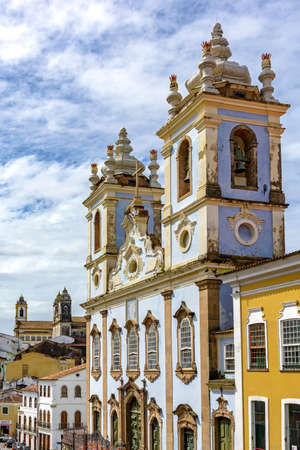 slaves: Facade of the Church of Our Lady of the Rosary of the Blacks Liners in the Pelourinho in Salvador. We had the beginning of its construction in 1704 and remains attached a cemetery of slaves.