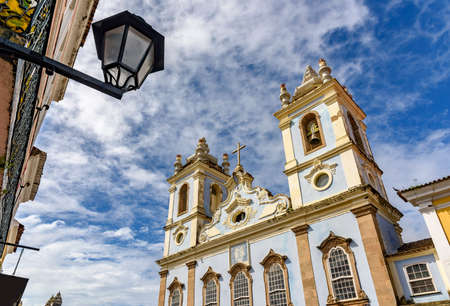 slaves: Top of the facade of the Church of Our Lady of the Rosary of the Blacks Liners in the Pelourinho in Salvador. We had the beginning of its construction in 1704 and remains attached a cemetery of slaves.