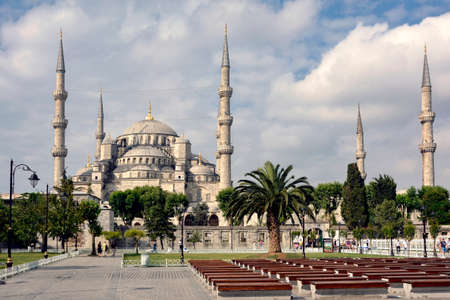 constantinople ancient: External view of the Blue Mosque in Istanbul