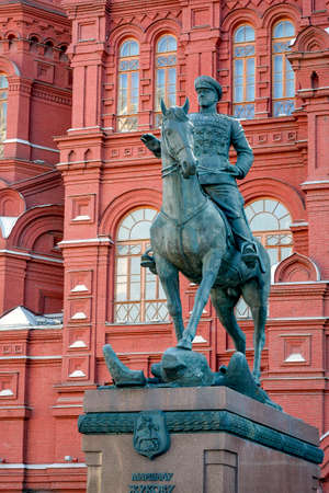 imposing: Imposing statue of Georgy Zhukov Marshal riding on the Red Square in Moscow