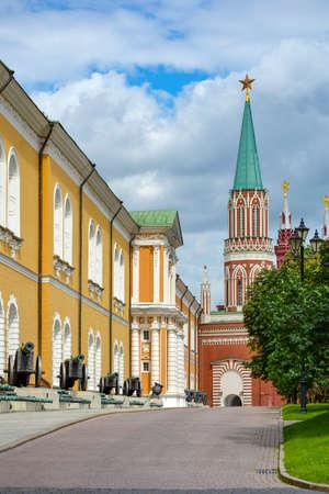 visitation: Old cannons on display at a Kremlin street Stock Photo