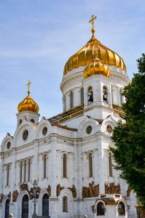 iron curtain: Imposing fa?ade of the Cathedral of Christ the Savior in Moscow