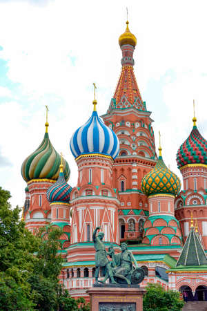 iron curtain: Facade of the famous St. Basils Cathedral with its characteristic colors and architecture in Red Square in Moscow