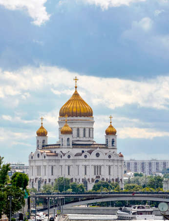 iron curtain: Imposing fa�ade of the Cathedral of Christ the Savior in Moscow