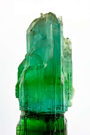 green tourmaline: Green tourmaline crystals with their color, texture and formation characteristics Stock Photo