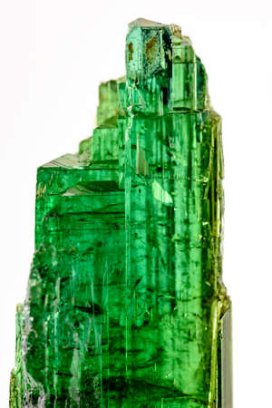 jewell: Green tourmaline crystals with their color, texture and formation characteristics Stock Photo