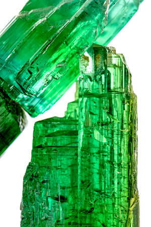 characteristics: Green tourmaline crystals with their color, texture and formation characteristics Stock Photo
