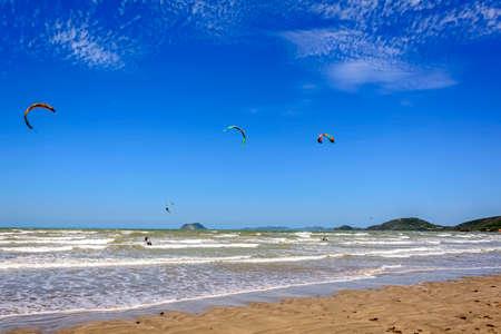Several kitesurf practitioner in Rasa beach in Buzios