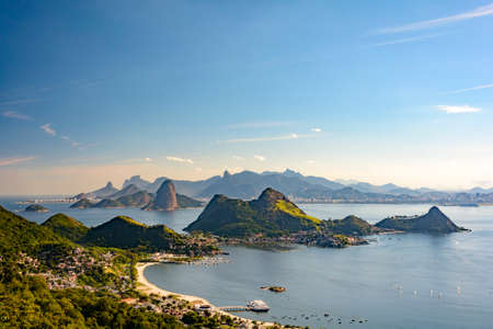 inlet bay: View of Guanabara Bay, Sugar Loaf and hills of Rio de Janeiro from the City Park in Niteroi