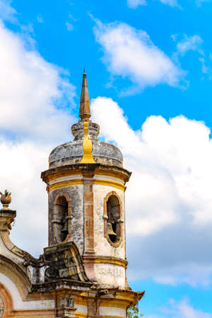 Architectural details of the tower of St. Francis of Assisi Church in Ouro Preto, Minas Gerais