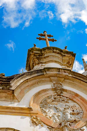 Architectural details of the tower and facade of St. Francis of Assisi Church in Ouro Preto, Minas Gerais