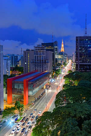 Night view of the famous Paulista Avenue, financial center of the city and one of the main places of S� � o Paulo, Brazil Stock Photo