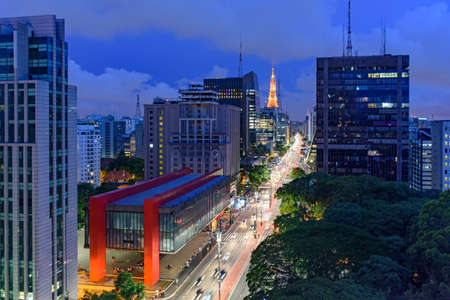 Night view of the famous Paulista Avenue, financial center of the city and one of the main places of SÃ £ o Paulo, Brazil