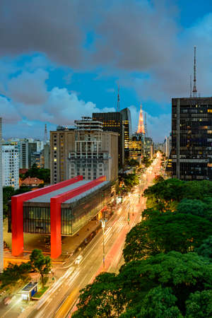 Night view of the famous Paulista Avenue, financial center of the city and one of the main places of SÃ £ o Paulo, Brazil Editorial