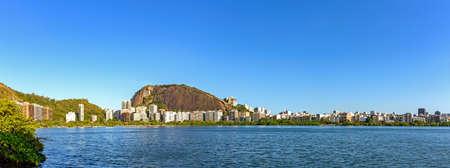 Panoramic image of famous landscape of Rio de Janeiro with the Rodrigo de Freitas Lagoon and hills