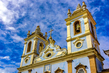 Top Church facade of Our Lady of the Black Rosary in Pelourinho in Salvador.
