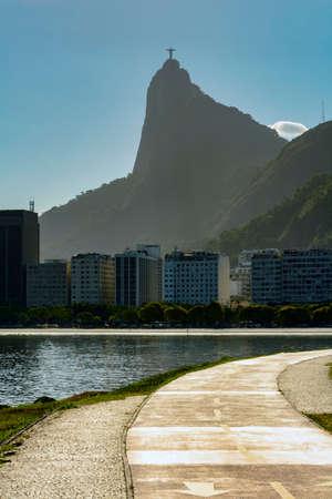 Botafogo, plage, crique, statue, christ, rédempteur, collines, et, bâtiments, dans, fond