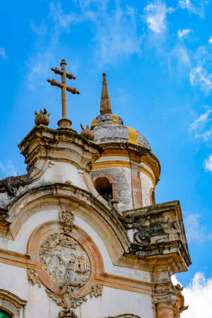 of assisi: Tower and facade of the ancient church of St. Francis of Assisi built in the year 1771 in Baroque style in the city of Ouro Preto in Minas Gerais