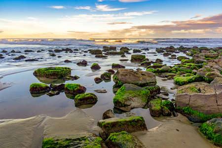 Mossy stones and waves between the waters of the Cal Beach in Torres city, Rio Grande do Sul