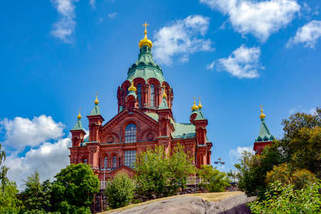 Famous Uspenski Orthodox Cathedral in Helsinki, Finland