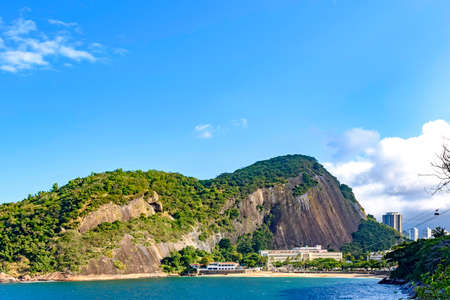 Praia Vermelha, the starting point of the Sugarloaf hill cable car, one of the main tourist attractions in the city of Rio de Janeiro