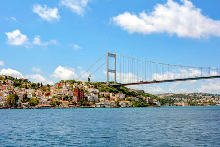 View of the historic city of Istanbul and its buildings on the banks of the Bosphorus