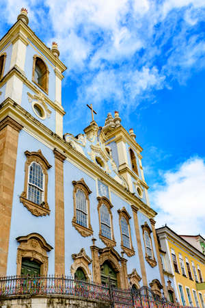 Facade of old historic church in colonial architecture at Pelourinho in Salvador, Bahia, Brazil Stock Photo - 130146430